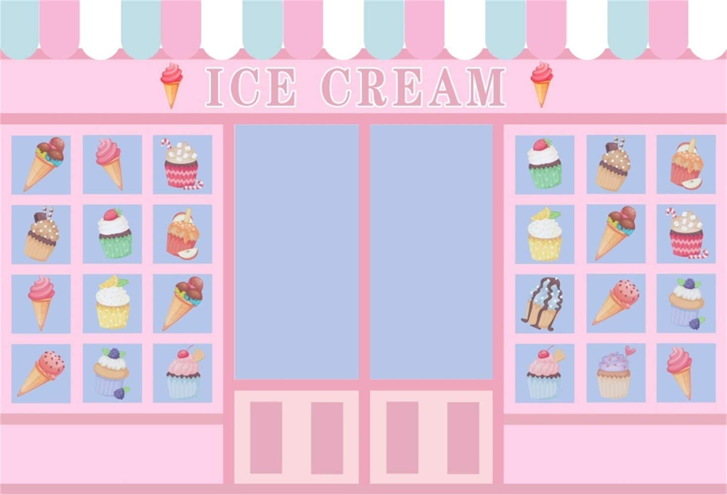 YongFoto 10x9ft Colorful Ice Cream Backdrop Kids Party Summer Club Photography Background Ice Cream Cone White Wallpaper Newborn Birthday Pictures Party Banner Dessert Table Decor