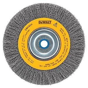 DEWALT DW4908 10-Inch Crimped Bench Wire Wheel, 3/4-Inch Arbor, Wide Face .014-Inch