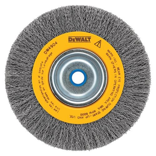 DEWALT DW4906 8-Inch Crimped Bench Wire Wheel, 5/8 Arbor, Medium Face, .014-Inch Wire ()