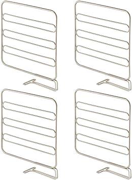 mDesign Juego de 4 separadores met/álicos para organizar armarios y estanter/ías Organizadores de armarios para colocar sin tornillos plateado mate Pr/ácticos divisores de estantes y repisas