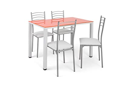 Conjunto de mesa de cocina Naranja + 4 sillas basik blancas.: Amazon ...