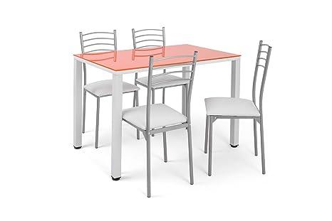 Sedie Da Cucina Bianche : Set con tavolo da cucina arancione e sedie basik bianche amazon