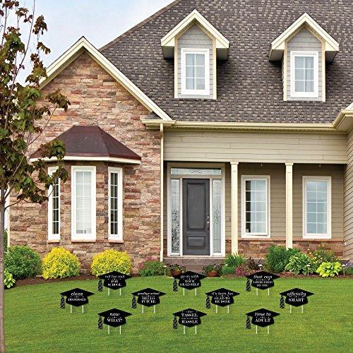 7f00f8c35a3b Big Dot of Happiness Graduation Cheers - Grad Cap Shaped Outdoor Graduation  Lawn Decorations - Graduation
