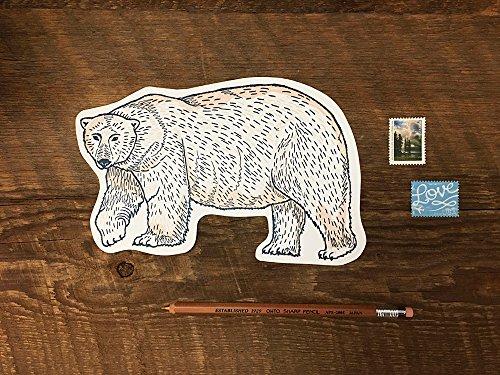 Polar Bear Postcard, Bear Postcard, Die Cut Letterpress Postcard ()