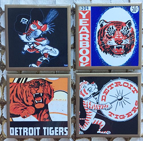 - Retro Detroit Tigers coasters with gold trim