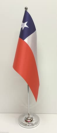 Chile de la bandera de raso con Base cromada de sobremesa juego de banderines: Amazon.es: Hogar