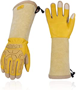 Vgo 1-Pair Premium Cow Grain Leather Extra-long Cuff Thornproof, Anti-abrasion, Anti-Impact Gardening Gloves (Size L, Gold, CA9659)
