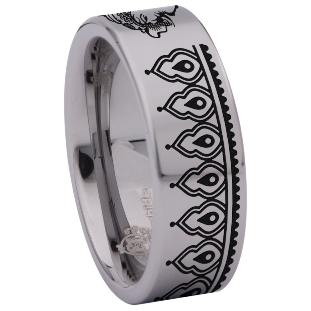 Friends of Irony Silver Tungsten Carbide Ganesha Ring 8mm Wedding Band Anniversary Ring for Men and Women Size 7