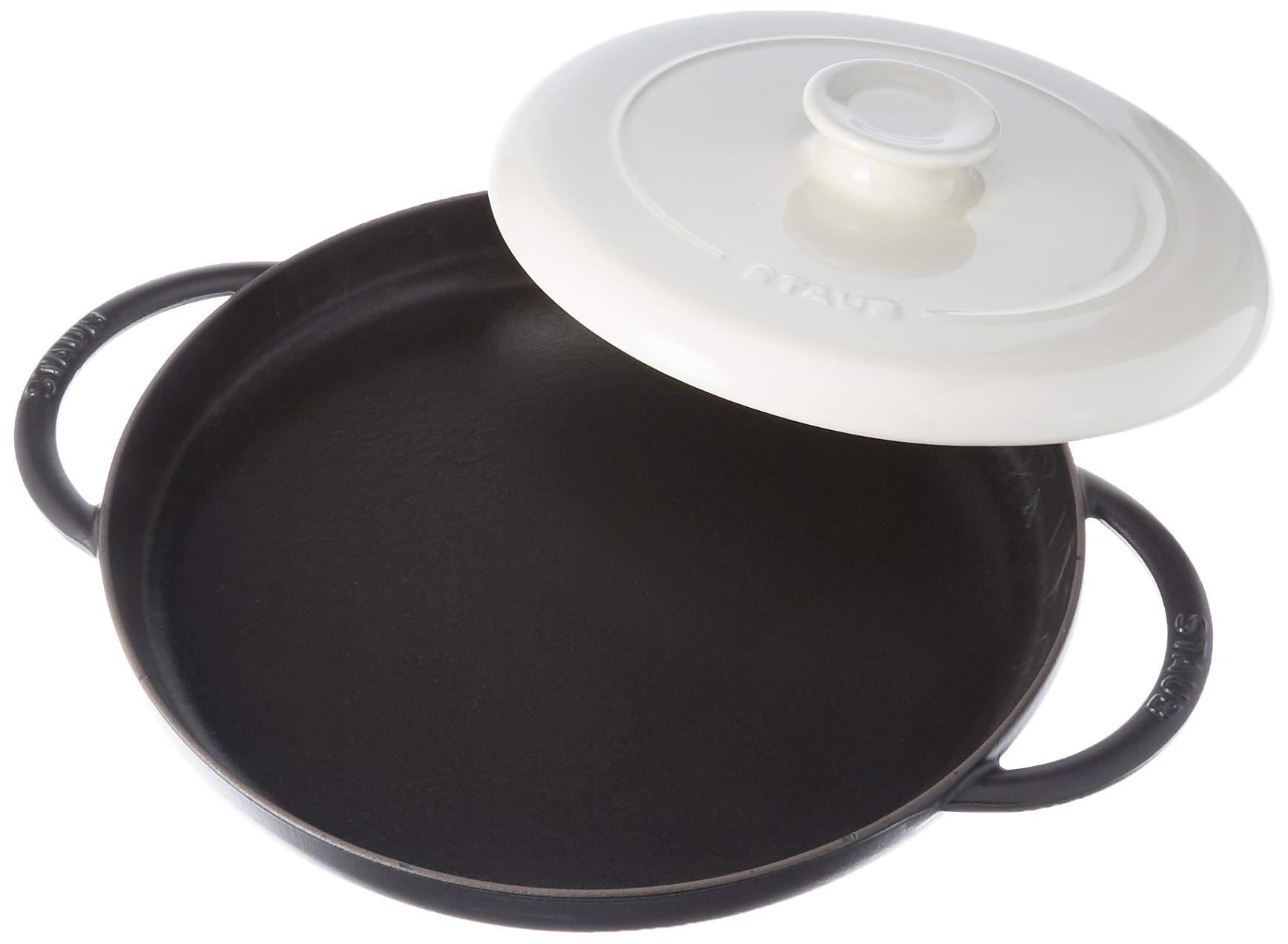 Staub 40508-550 Cast Iron Chicken al Mattone Griddle & Press Set 12-inch Matte Black