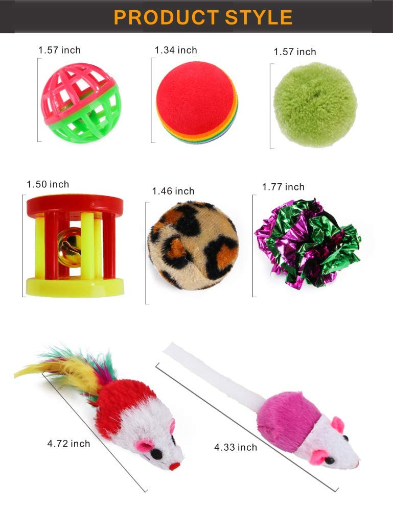 PoPoint 26 pcs Cat Toys Kitten Toys Assortments,Cotton mice Cat Wand Rainbow Ball Bell Ball Crinkle Ball Feather for Cat Puppy Kitten