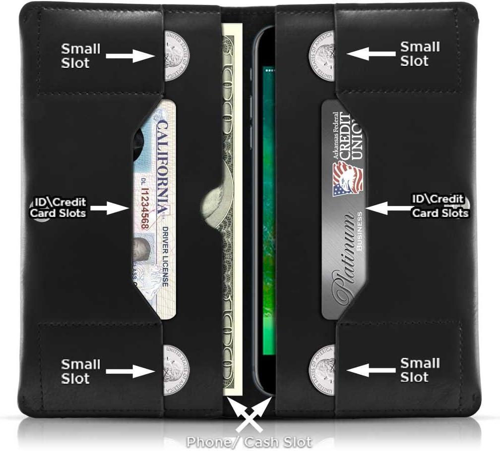 Cellular Accents Compatible Cell Phone Wallet Cash Stash Pouch Case Fits iPhone 8, 7, 6, Galaxy J3 Emerge, J3 Prime, LG K3 2017, Huawei Nova, Nova 2, Essential Phone (PH-1) (Black)
