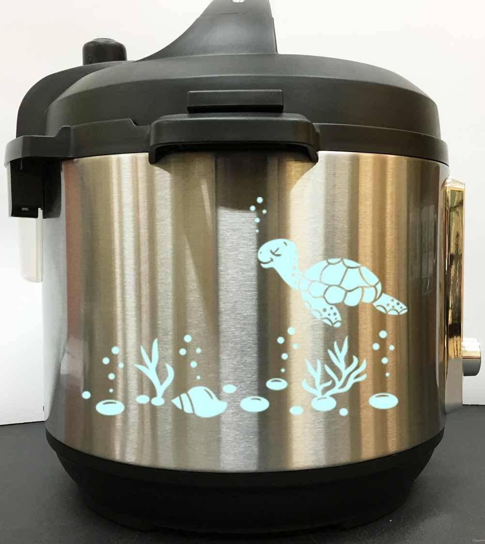 Sea Turtle And Shells Decal Sticker - Mint Vinyl Decal Sticker for Instant Pot Instapot Pressure Cooker