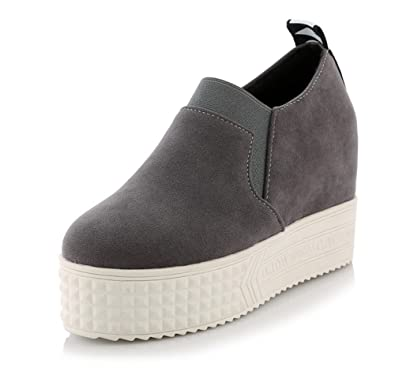 Easemax Damen Modisch Suede Durchgängiges Plateau Keilabsatz Slipper Sneakers Grau 34 EU ajU2dY7ono