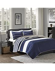 Comfort Spaces Verone 2 Piece Quilt Coverlet Bedspread Ultra Soft Microfiber Stripes Pattern Hypoallergenic Bedding Set, Twin/Twin XL, Blue White