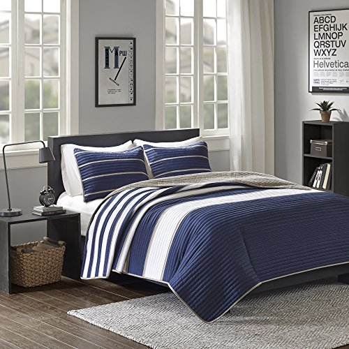 Comfort Spaces Verone Mini Quilt Coverlet Set - 2 Piece - Navy, White, Khaki - Stripes Pattern - Twin/Twin XL size, includes 1 Quilt, 1 (Mini Twin Comforter)