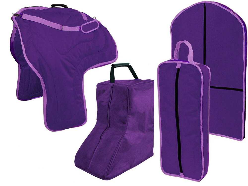 Purple Tahoe Western Horse Saddle Boot Halter Garment Carry Bag Set 4 Items