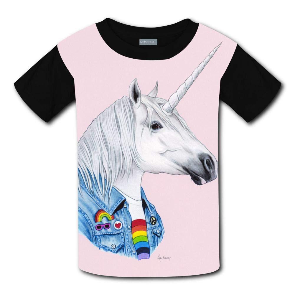 Unisex Youth 3D Unicorn Art Print T Shirts Short Sleeve Kids Tee