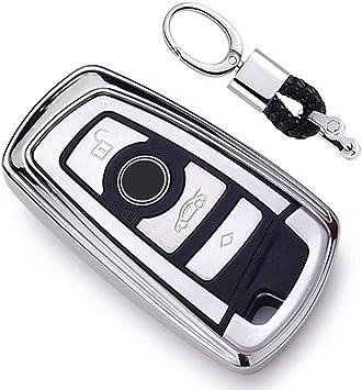 Imagen dePlateado Funda de TPU Suave para Llave + Llavero para Coche BMW 1 3 4 5 6 7 Series BMW X3 X4 X5 X6 M3 M4 M5 M6 Remote Smart 3 4 Buttons