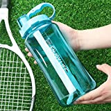 Lonni 2L Sports Water Bottles, Portable Wide Mouth Bottle Leakproof Plastic Space Cup Travel Mugs with Straw and Adjustable Strap for Kids Adult Summer Outdoor Sports (Blue)