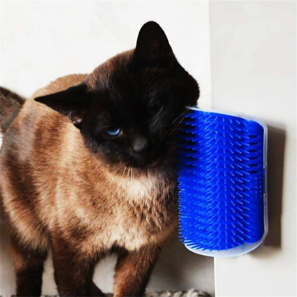 bluee 2 Pcs Pet Cat Self Groomer Wall Corner Massage Comb Grooming Tool Hair Removal Rubbing Brush with Catnip Pet Toy for Cat Brush Comb,bluee