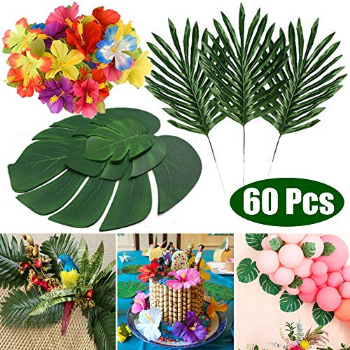 (KUUQA 60 Pcs Tropical Leaves Luau Party Decorations Artificial Tropical Palm Monstera Leaves and Hibiscus Flowers for Hawaiian Aloha Jungle Safari Theme Birthday Party Decoration Supplies )