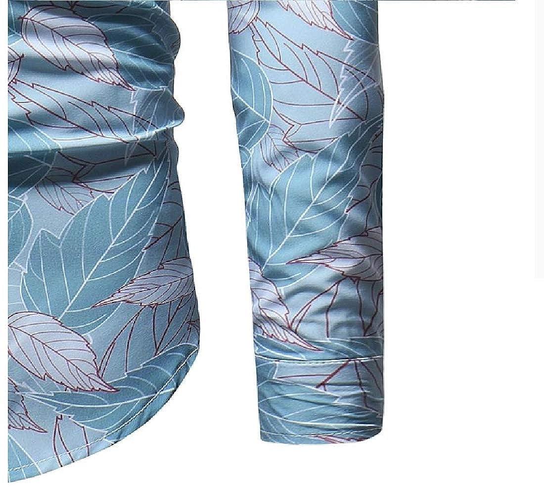 YUNY Men Flower Print Single Breasted Regular Botton Front Dress Shirt Light Blue L