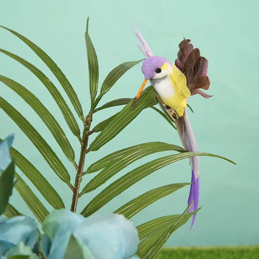 Plume d/écorations de f/ête blanc jardins Prosperveil Lot de 12 oiseaux artificiels /à clips en mousse pour loisirs cr/éatifs