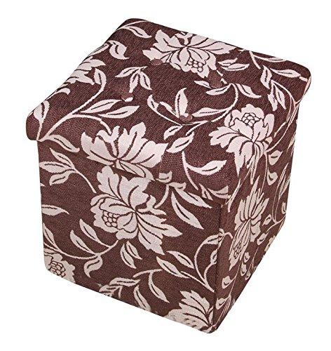 Fsobellaleo Linen Storage Ottoman Cube Folding Footrest Table Burgundy15