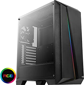 Aerocool Cylon Pro Mid-Tower RGB PC Gaming Case, ATX, Full Tempered Glass Side Window, 13 Lighting Modes, 1 x 120mm Black Fan Included, High Performance RGB Gaming Case | Black