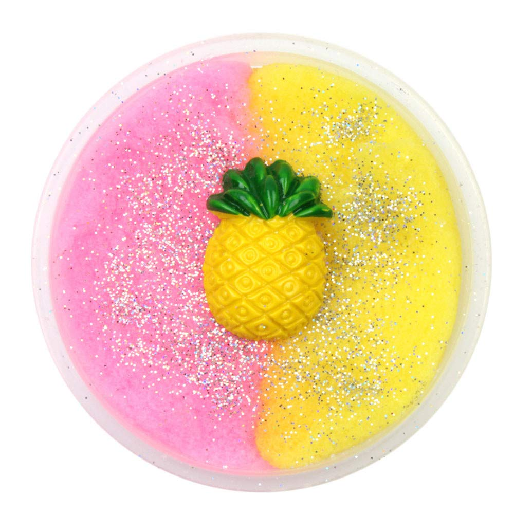 Kanzd Colorful Pineapple Mixing Cloud Cotton Candy Slime Scented Stress Kids Clay Toy (A)
