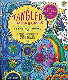 amazoncom tangled treasures coloring book 52 intricate tangle drawings to color with pens markers or pencils plus coloring schemes and techniques - Tangled Coloring Book