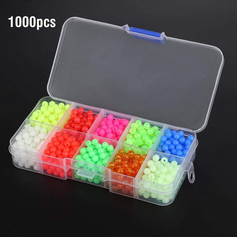 Bead Fishing Lures 1000pcs//Box Plastic Round Beads Fishing Tackle Lures Tools Accessory For Outdoor Fishing