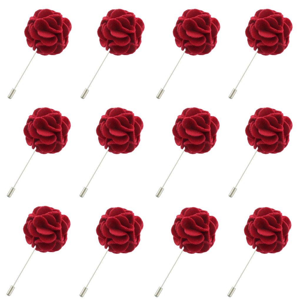 Red Flower Lapel Brooch Pin Suit Tuxedo Wedding Boutonniere Stick