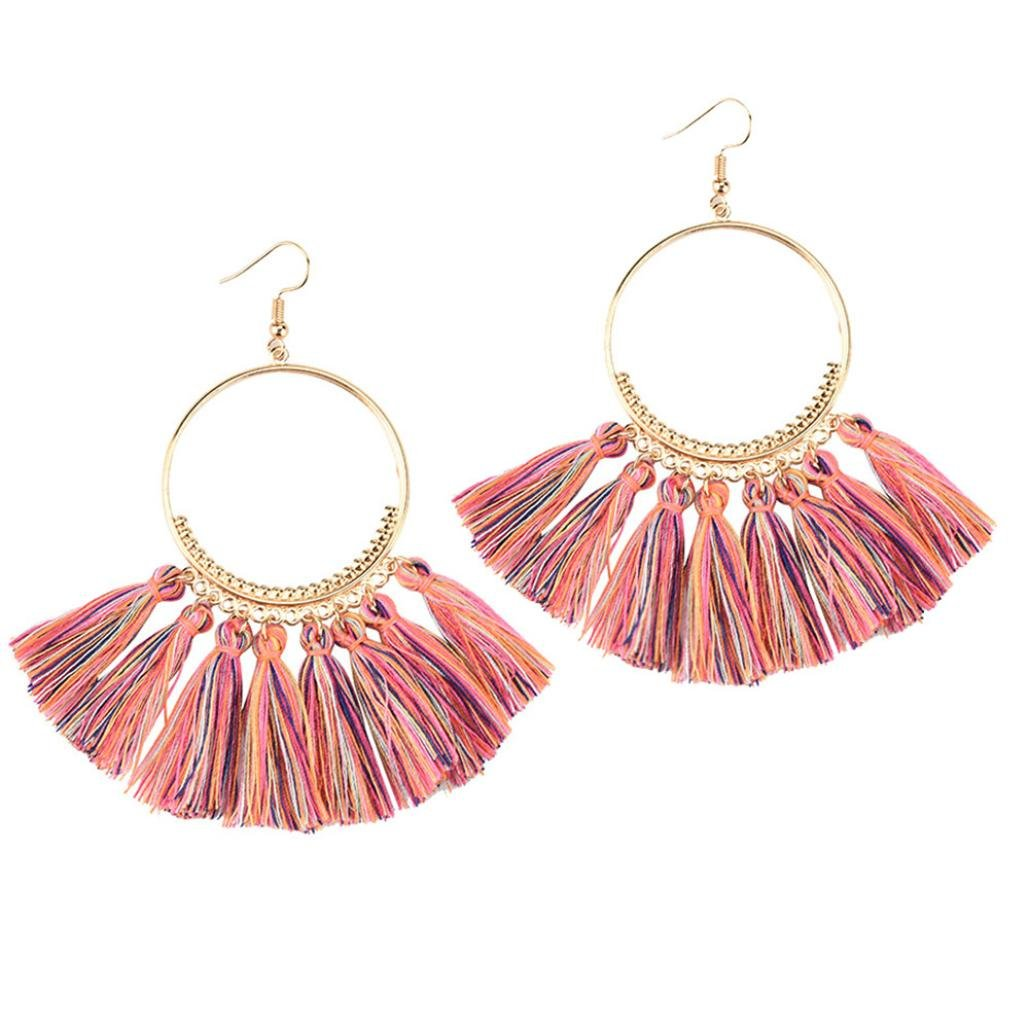 Beuu Large Circle Fan Fringe Earrings Openwork Style Big Crystal Tassel Dangle Stud Fashion Jewelry