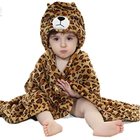 DINGANG® Niños bebé albornoz, diseño de leopardo con capucha suave forro polar manta Wrap