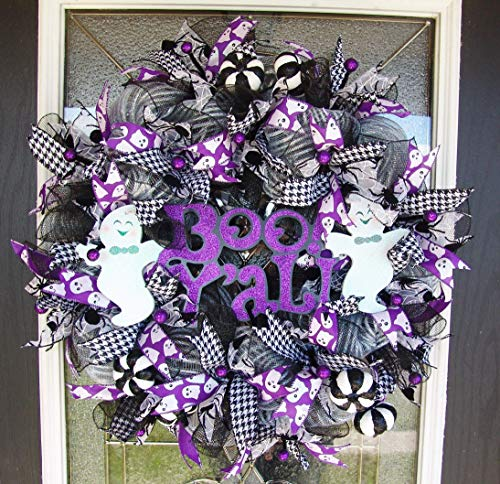 CLEARANCE Boo Y'all! Ghost Halloween Deco Mesh Front Door Wreath, Yard Art Decor, Porch Patio Party Decoration, Gift, Indoor Outdoor Wall Yard Prop ()