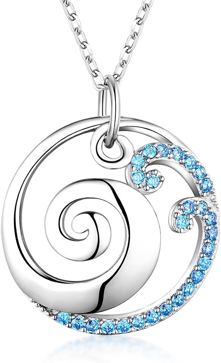 Bellrela 925 Sterling Silver Ocean Wave Pendant Necklace