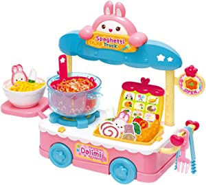 Dalimi Spaghetti Truck, Food Store Play Set for Kids Toddlers Ages 3 Years and Up, Street Food Vendor, Includes Stove, Side Ta-ble, Utensils and Menu