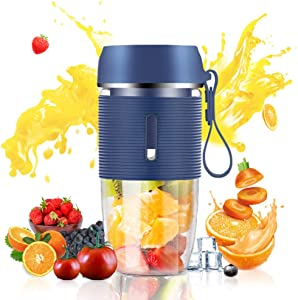 Portable Juicer for Handmade Fruit or Vegetable Smoothie 350 ML Blue Mini Blender with USB Rechargeable and Waterproof BPA Free Suitable for Outdoor, Travel, Home, Personal Used and Sport
