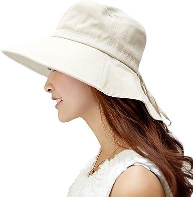 SIGGI/ plegables con cord/ón a la barbilla y ala ancha /UPF50/Sombreros de algod/ón