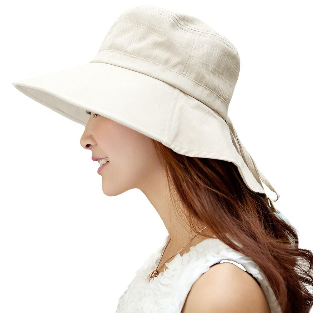 Siggi Summer Flap Cover Cap Cotton UPF 50+ Sun Shade Hat with Neck Cord Wide Brim for Women Beige (SIZE:56-58CM)