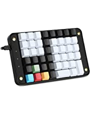 Koolertron Single-Handed Programmable Mechanical Keyboard With Cherry Mx Red Switch,All 46 Programmable Keys Tools Keypad,8 Macro Keys,Pbt Front Side Print White And No Print Black Keycaps.[Smkd72-B]