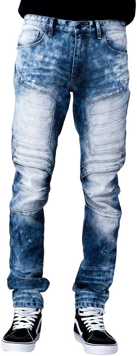 Men Smoke Rise Slim Straight Vintage Black Embossing Pants Vintage Denim Jeans