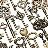 130pcs Antique Bronze Vtg Ornate Skeleton Keys Lot Pendant Fancy Heart Pendants Key Gift - Hardware & Accessories Door Hardware & Locks - 1 x Cold air gun