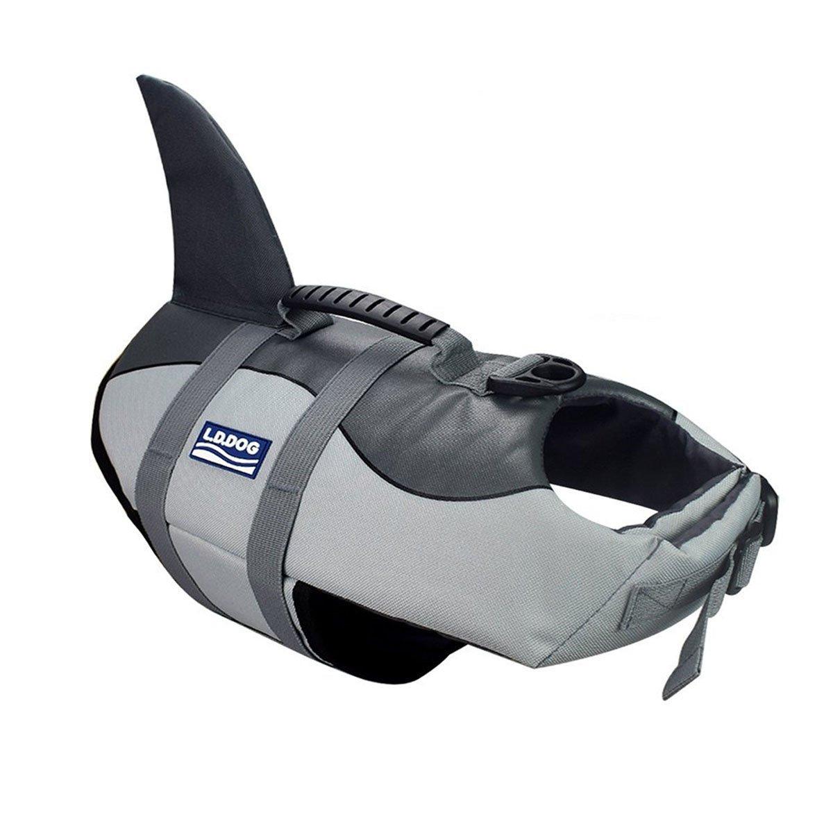 A-MORE Dog life jackets Dog saver Life Jacket Dog Swimming Vest Adjustable Life Jacket for Dogs (M, Grey) by A-MORE