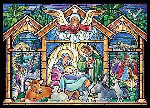 Stained Glass Nativity Religious Christmas Cards - Box of (Glass Natività Di Natale Set)