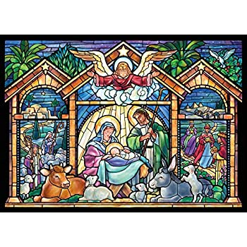 Amazon Com Stained Glass Nativity Religious Christmas