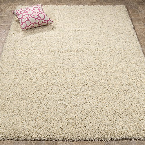 Lifestyle Shaggy Collection - Contemporary Shag Area Rug (5' x 7', Ivory)