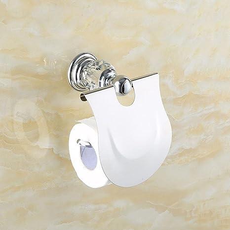 QUEENS Crystal Porta tisú plata cromado de toallas de baño de acero inoxidable cristal porta toallas