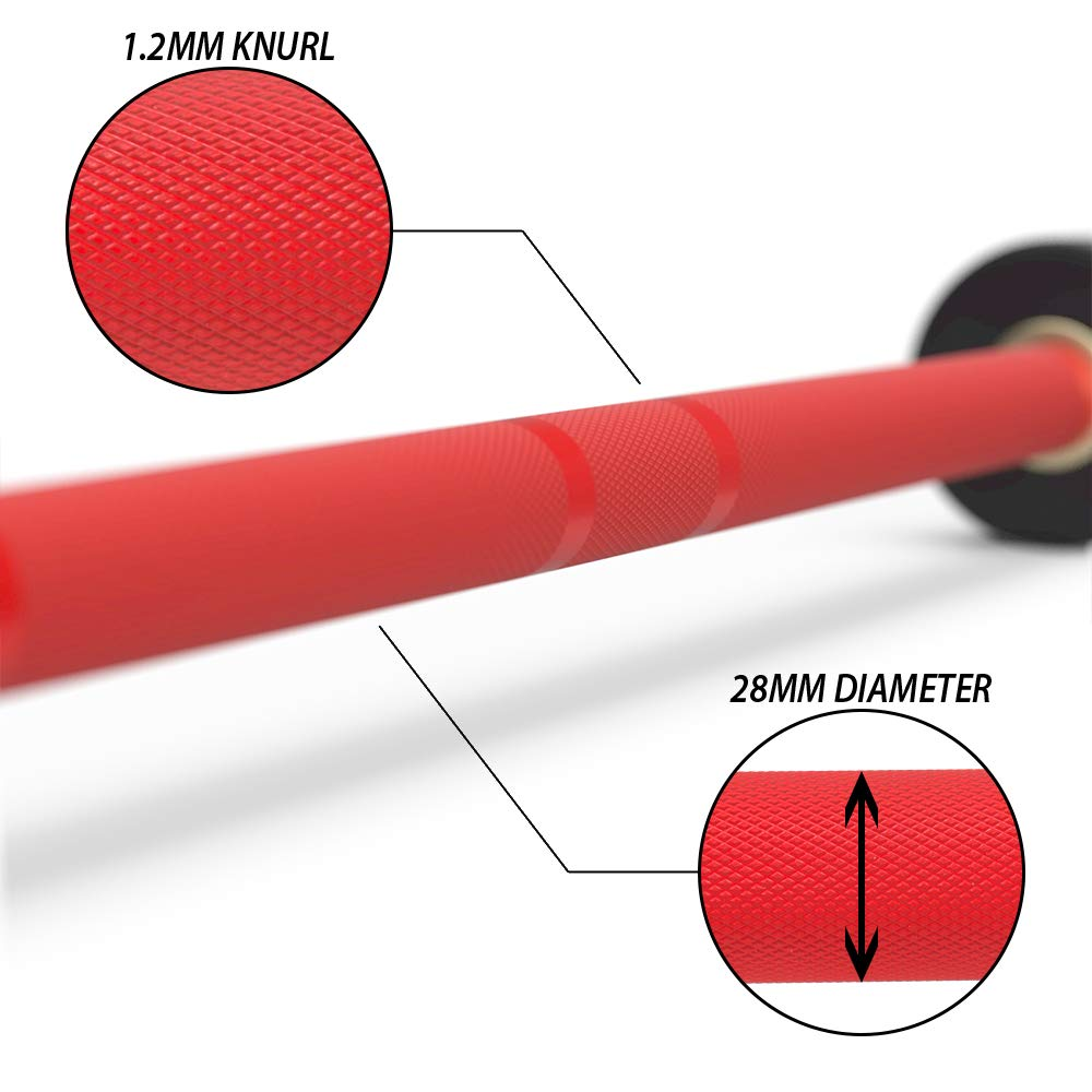 Synergee Games 20kg Colored Men's Red Cerakote Barbell. Rated 1500lbs for Weightlifting, Powerlifting and Crossfit by Synergee (Image #4)